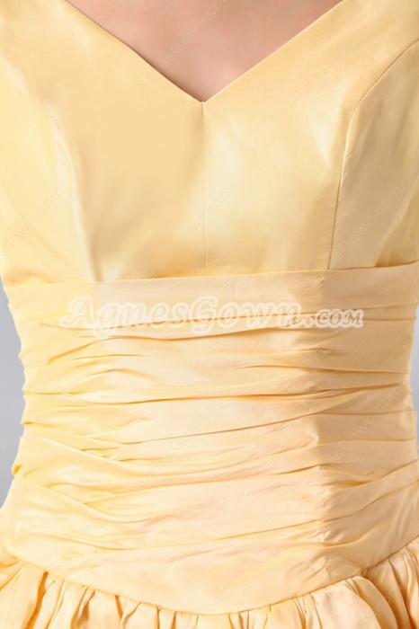 Simple V-neckline Knee Length Yellow Wedding Guest Dress