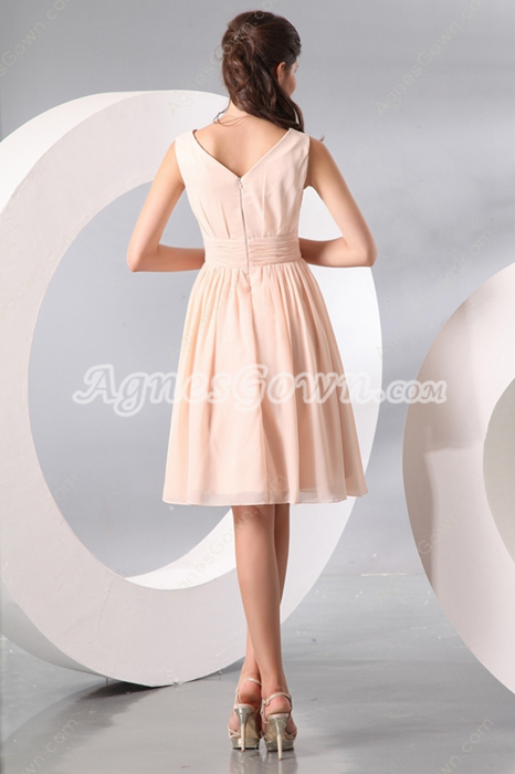 Modern V-Neckline Knee Length Peach Chiffon Wedding Guest Dress