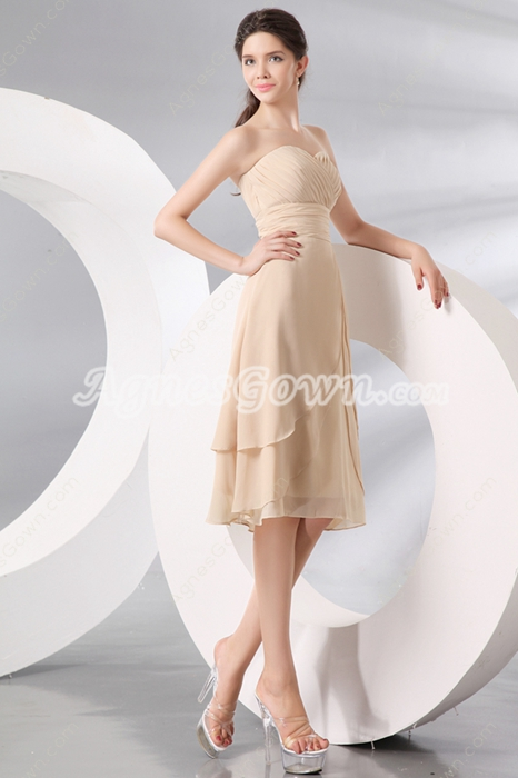 Elegance Sweetheart A-line Knee Length Champagne Wedding Guest Dress