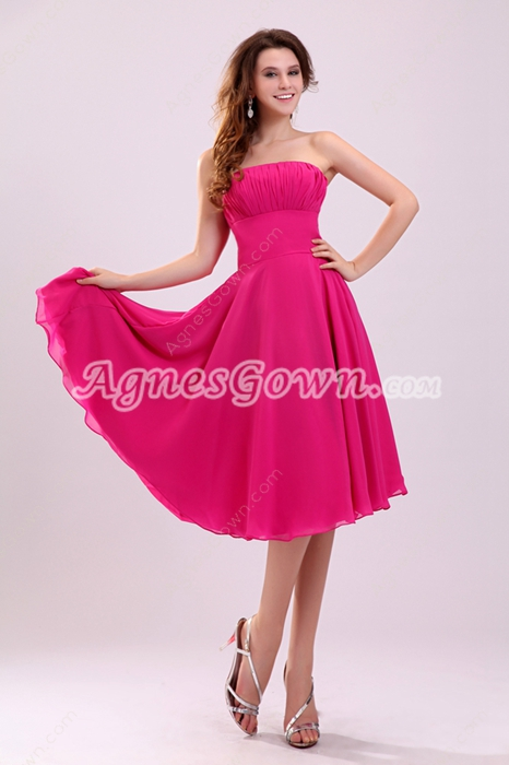Flowing Strapless A-line Knee Length Fuchsia Chiffon Junior Bridesmaid Dress