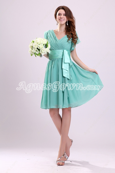 Cute Short Sleeves V-Neckline Jade Green Junior Bridesmaid Dress