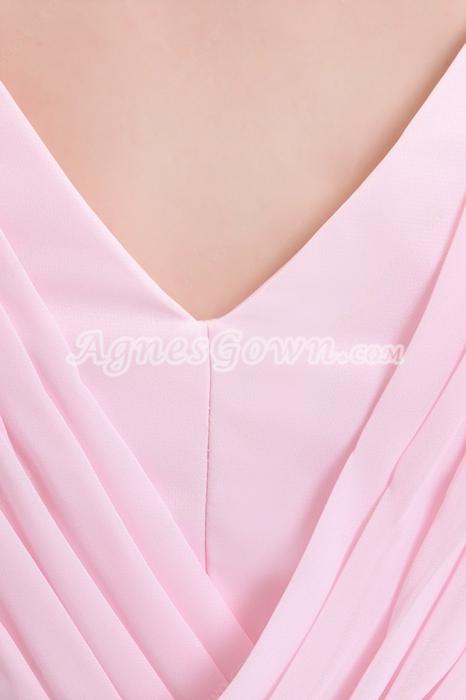 Beautiful V-Neckline A-line Tea Length Pink Junior Bridesmaid Dress