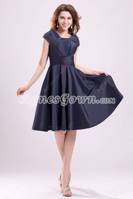 Dark Navy Short Sleeves Scoop Neckline A-line Knee Length Wedding Guest Dress