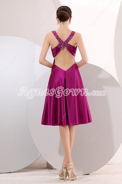 Pretty Crossed Straps Back Knee Length Fuchsia Wedding Guest Dress