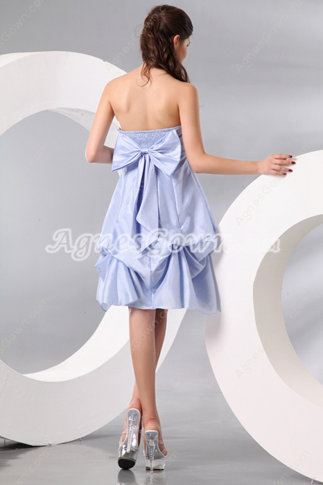 Sassy Puffy Knee Length Lavender Junior Prom Dress