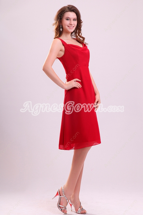 Modest Double Straps A-line Knee Length Red Chiffon Wedding Guest Dress