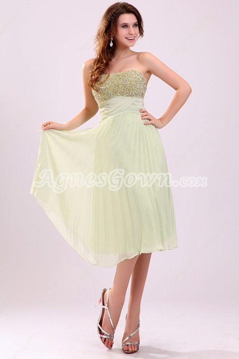 Fashionable Strapless Tea Length Sage Colored Chiffon Junior Prom Dress With Heavy Beads
