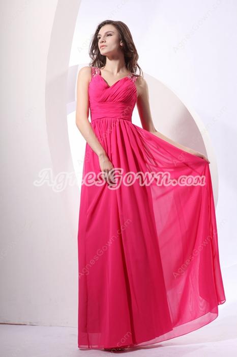 Pretty V-neckline Full Length Hot Pink Bridesmaid Dress