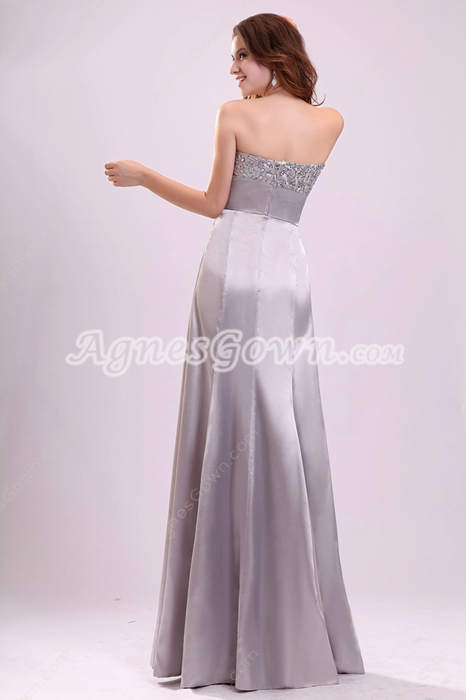 Charming A-line Floor Length Strapless Neckline Silver Long Mother of The Bride Dress
