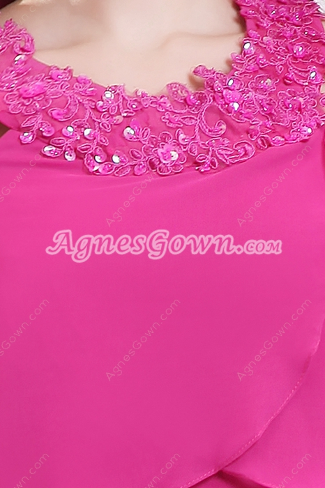 Straight Knee Length Halter Chiffon Fuchsia Wedding Guest Dress