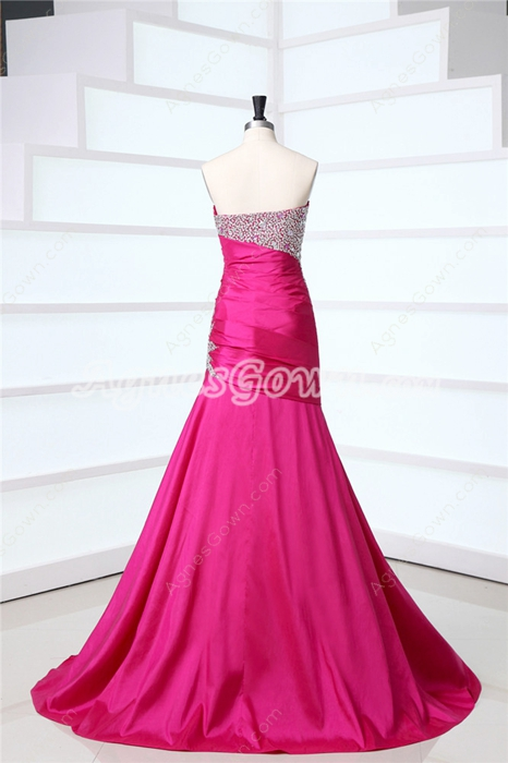 Chic Fuchsia Fitted Evening Dresses