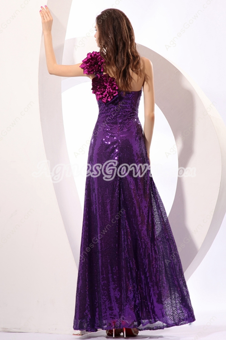 Stylish One Shoulder A-line Purple Sequined Evening Dress