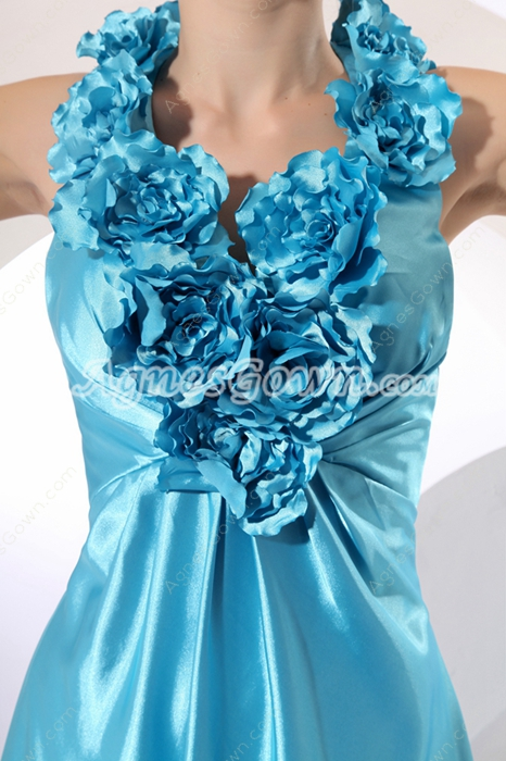Cute Halter Blue Ruffle Flowers Prom Dress
