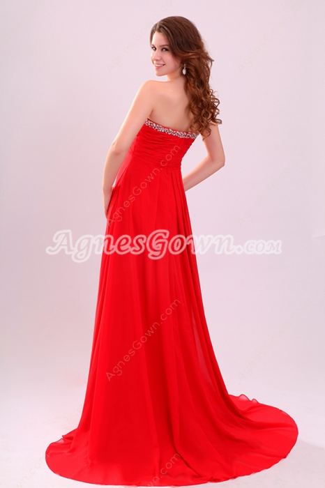 Flowing Strapless Neckline Empire Full Length Red Chiffon Plus Size Prom Dress
