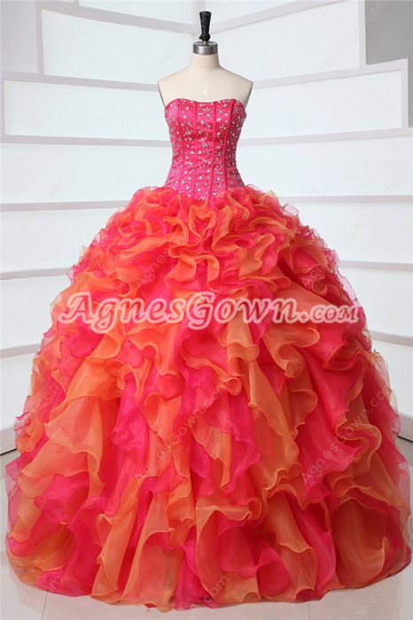 Pretty Dipped Neckline Ball Gown Multi Colored Rainbow Quinceanera Dress 2016