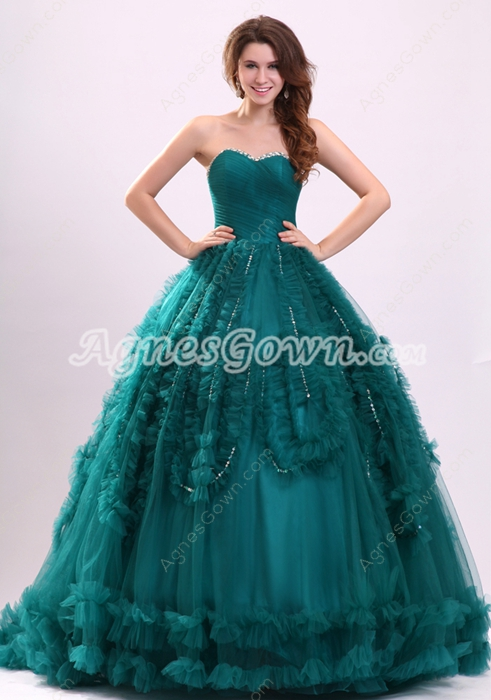 Perfect Dark Green Sweetheart Corset Quince Gown 2016