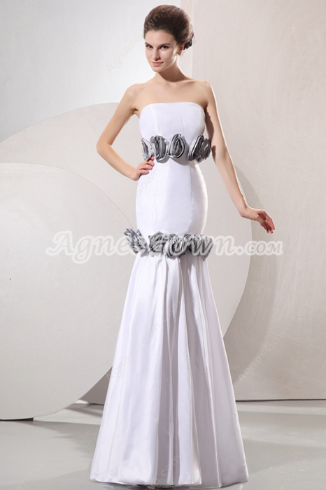 Casual Strapless Satin Mermaid Beach Wedding Gown With Handmade Flowers