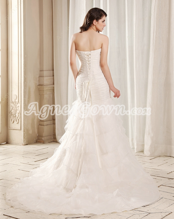 Fairytale Strapless Trumpet/Mermaid Ivory Organza Wedding Dress