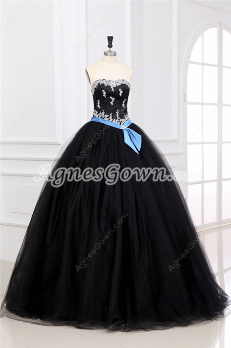 Retro Shallow Sweetheart Ball Gown Black Tulle Sweet Fifteen Dress