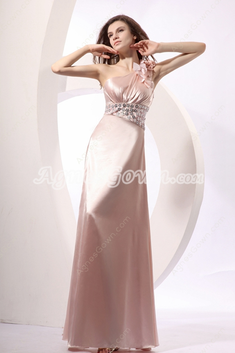 Sassy One Shoulde Full Length Pearl Pink Military Ball Dress