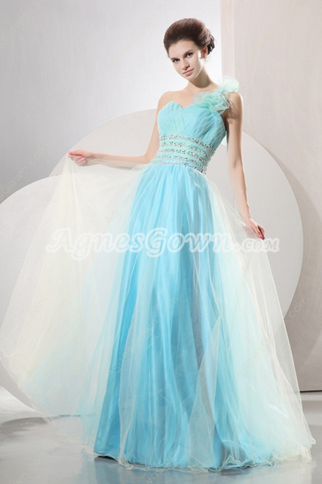 Pretty One Shoulder Puffy Full Length Sky Blue Princess Quinceanera Dress