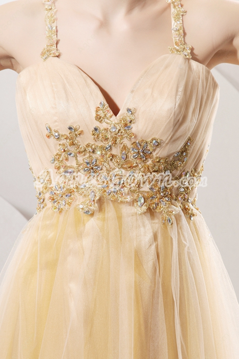 Crossed Straps Back Ankle Length Champagne Tulle Prom Gown