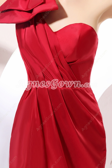 Wonderful One Shoulder Red Cocktail Gown Short Length