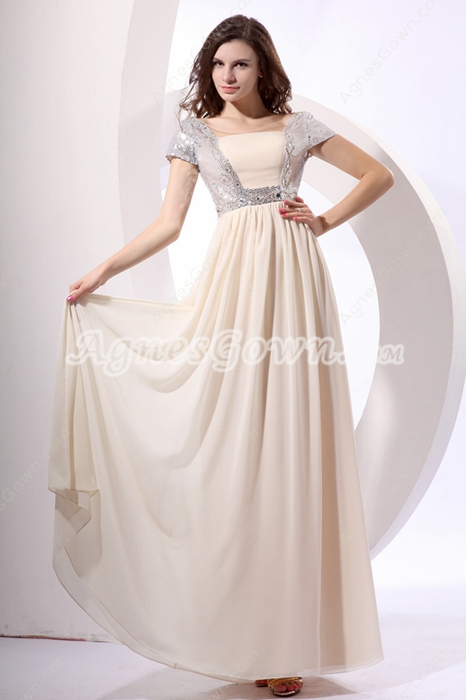 Modest Short Sleeves Long Length Champagne & Silver Prom Dress For Juniors