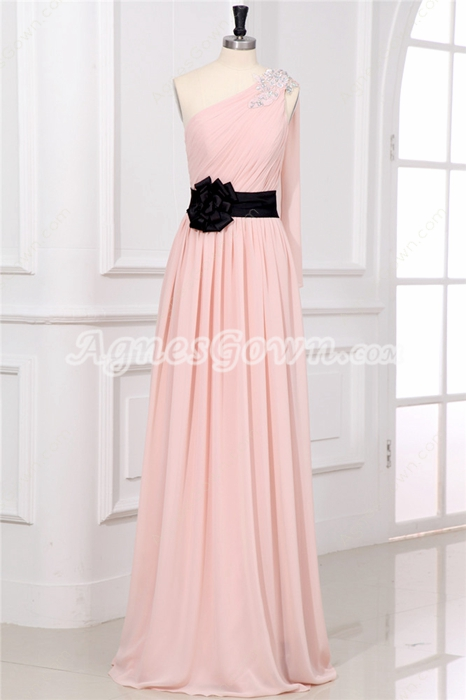 Beautiful Pink One Shoulder Online Evening Dresses