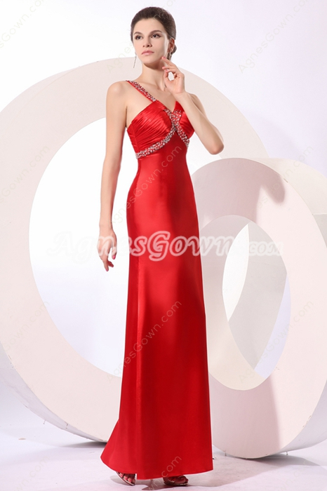 Stylish Straps A-line Ankle Length Red College Graduation Dress