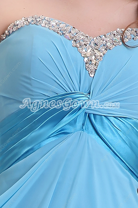Sassy Sweetheart Empire Full Length Blue Plus Size Prom Dress