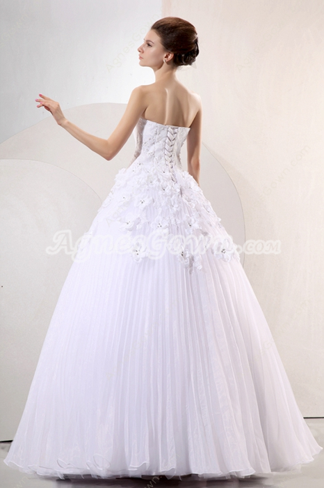 Fairytale Sweetheart Princess Wedding Dress With Daisy Flowers