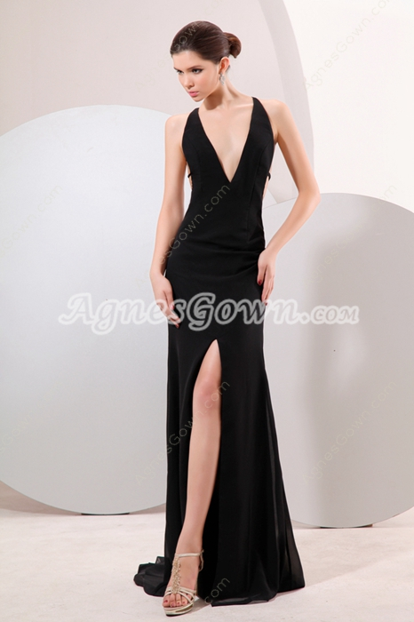 Hot Deep V-Neckline Black Chiffon Sexy Evening Dress High Slit