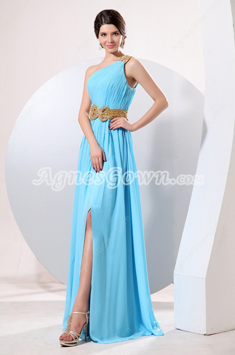 Sassy One Shoulder Long Chiffon Blue Evening Dress Front Slit