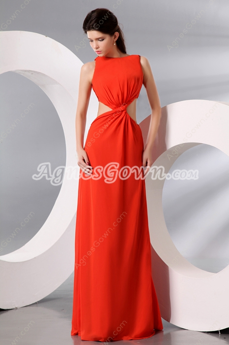 Boat Neckline Full Length Orange Evening Dress Cut Out