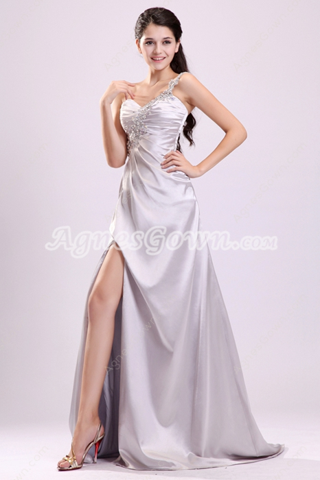 Magnificent Single Straps A-line Floor Length Silver Colored Informal Evening Gowns