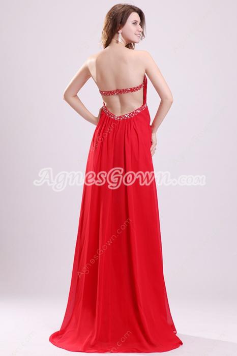 Shallow Sweetheart A-line Red Chiffon Evening Dress Backless