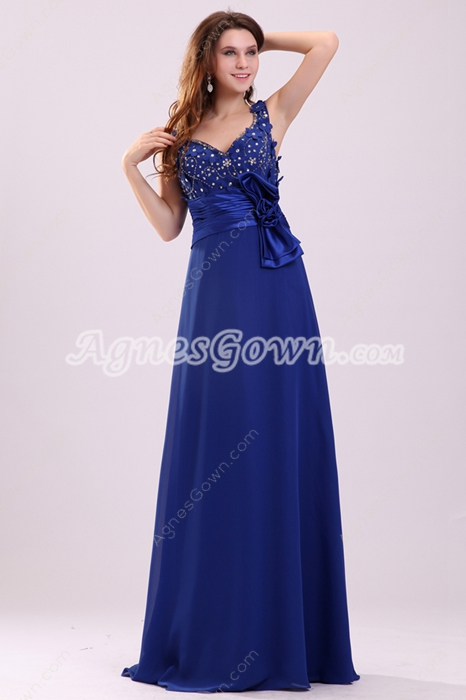 Attractive Plunge Neckline Long Length Royal Blue Mother Of The Bride Dress