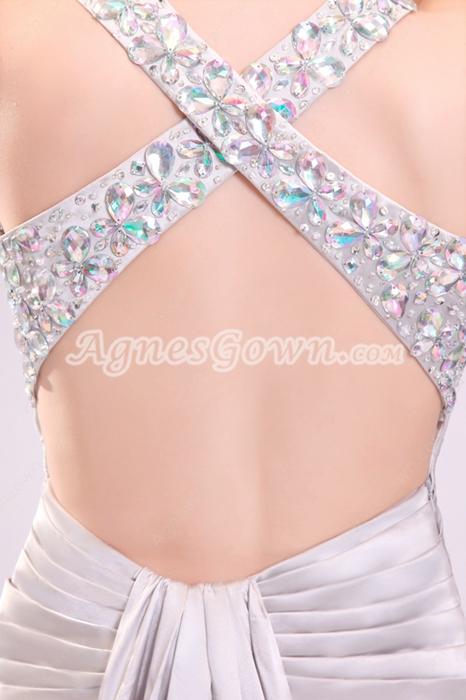 Trendy Crossed Straps A-line Floor Length Silver Wedding Gown Side Slit