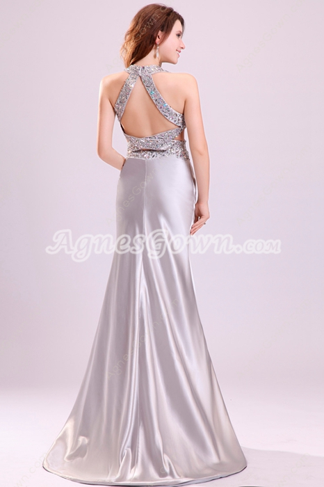 Dramatic Crossed Straps Back Silver Satin Prom Dress With Rhinestones
