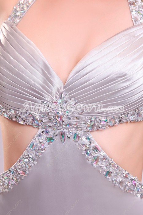 Desirable Crossed Straps A-line Full Length Silver Satin Wedding Gown
