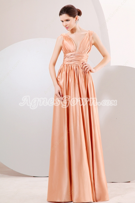 Plunge Neckline Long Length Coral Prom Party Dress