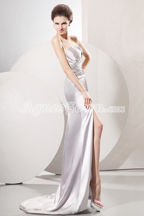 Glamour Strapless Neckline Sheath Full Length Silver Satin Evening Dress Side Slit
