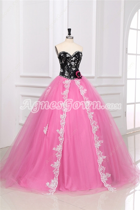 Impressive Colorful Black & Pink Vestidos de Quinceañera Dress