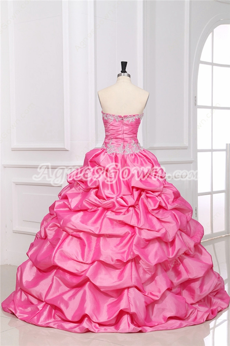 exclusive Hot Pink Taffeta Sweet 16 Dress With Rosette