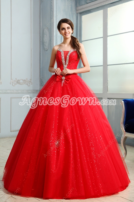 Pretty Strapless Neckline Ball Gown Floor Length Red Sweet 15 Dress
