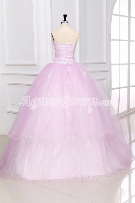 Beautiful Strapless Ball Gown Pearl Pink Sweet 15 Dress