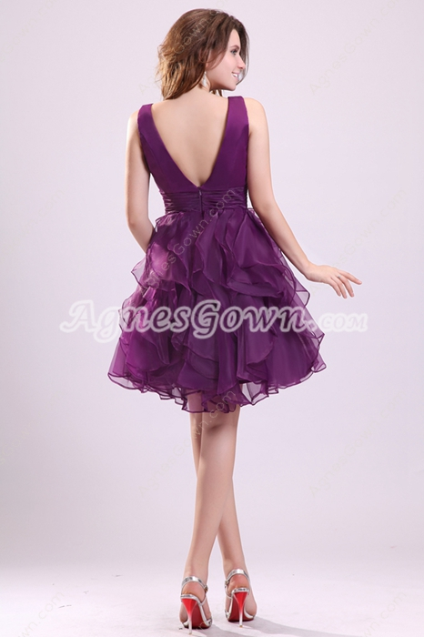 V-Neckline Puffy Mini Length Purple Organza Sweet Sixteen Dress