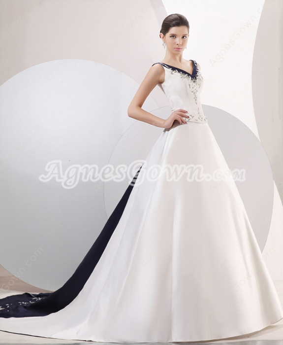 Glamour V-Neckline A-line Full Length White & Navy Blue Embroidery Wedding Dress