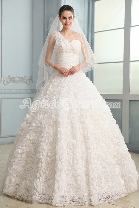 Dramatic Single Shoulder Ball Gown Floor Length Floral Bridal Gowns